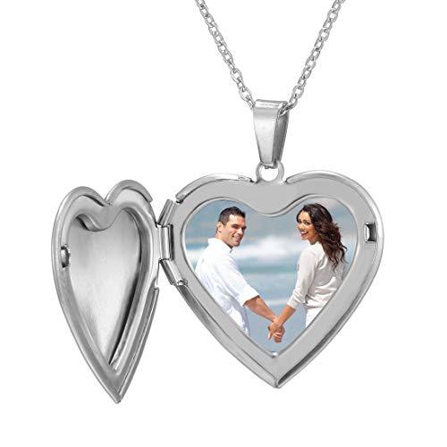 Collar Foto Personalizado Mujer Guardapelo Colgante Texto Grabado Mujeres Regalo Romántico de Aniversario Joyería Corazón Óvalo Redondo Collares 45cm