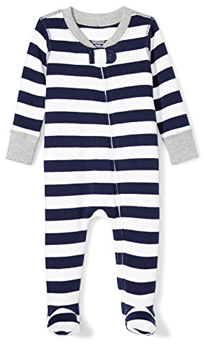 Moon and Back Baby Organic Footed Zip-Front Sleep and Play, navy/white stripe, 6-9 Months