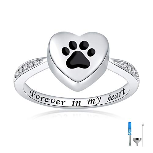 Sterling Silver Love Heart Urn Ring for pet Dog Cat's Ashes Forever in My Heart Paw Print Cremation Finger Rings