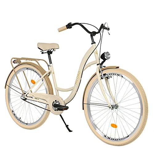 Milord. 26 Zoll 3-Gang Creme Braun Komfort Fahrrad mit Gepäckträger Hollandrad Damenfahrrad Citybike Cityrad Retro Vintage