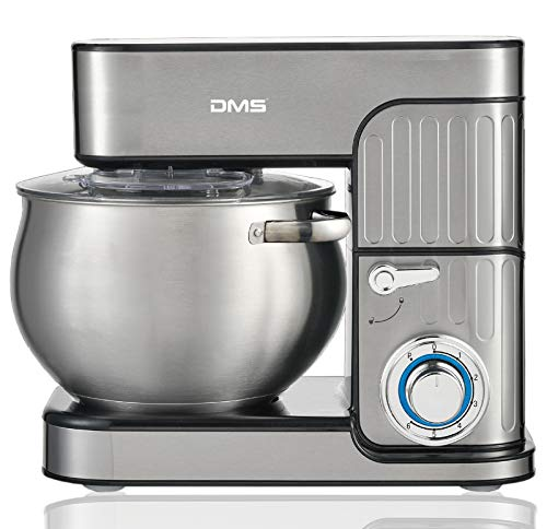 DMS® Küchenmaschine Rührmaschine Knetmaschine Edelstahl Küchenmaschine Teigkneter Edelstahlschüssel Spritzschutz 6-stufige Geschwindigkeit 8.5 Liter, 2350 Watt max. KM-2350