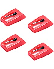 レコード針 交換針 ターンテーブルスタイラス交換ターンテーブルプレーヤー蓄音機 レコードプレーヤー針 4個 LP (赤)
