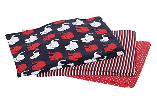 Jersey, Elefantenparade Rot Stoffpaket 3 x 50 cm Stoff mit einer Breite von je 150 cm, 150 cm