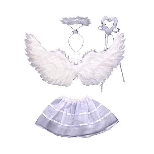 Lovelegis 2-4 años - Disfraz de ángel para niña - alas - Varita - Diadema - tutú - Disfraz de Carnaval Cosplay de Halloween - Color Blanco