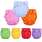 Baby Washable Reusable Cloth Diapers,7pcs