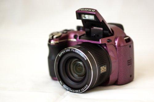 """Fuji Finepix S4000 S4080 Full 720p HD 14MP Digital Camera w/ 30x Optical Zoom, 3"""" TFT LCD (Plum)"""