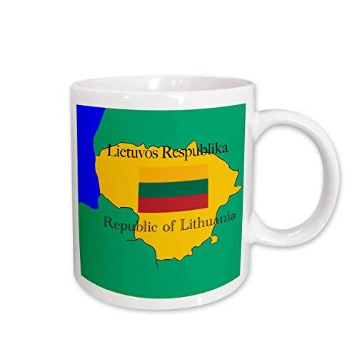 3dRose mug_39214_1 Die Karte und die Flagge von Litauen mit der Republik Litauen, gedruckt auf Englisch und Litauen, Keramiktasse, 325 ml