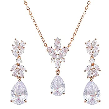 SWEETV Teardrop Rose Gold Wedding Bridal Jewelry Set for Brides Bridesmaid Crystal Pendant Necklace Drop Dangle Earrings Set for Women