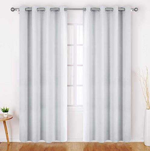 HOMEIDEAS Greyish White Blackout Curtains 52 X 96 Inch Long Set of 2 Panels Room Darkening Bedroom Curtains/Drapes, Thermal Grommet Light Bolcking Window Curtains for Living Room