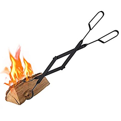 """Hoziel 26"""" Fireplace Log Grabber Indoor Outdoor Firewood Campfire Tongs,Fireplace Tweezers for Stove Fire Pit Grill BBQ"""