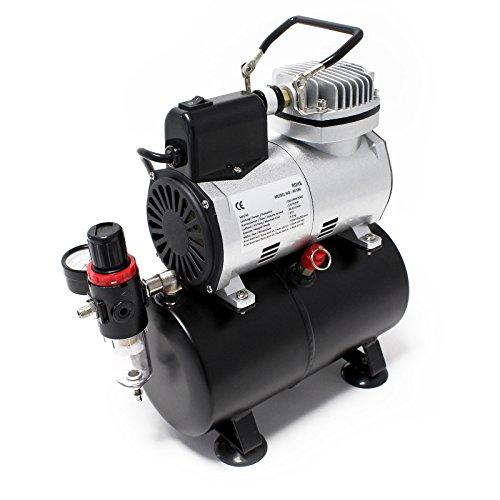 Airbrush Kompressor AF186 mit Lufttank Druckminderer 4 bar Start-Stop Automatik