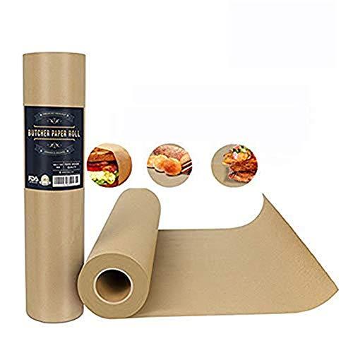 SYANG Rollo de Papel Kraft De Carnicero - 44.2 * 5200cm Papel de Envoltura Marrón de Grado Alimenticio Natural para Ahumar Barbacoas y Carnes en Tubo de Transporte Duradero