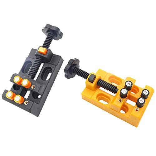 Nrpfell 2-Teiliger Miniatur-Klemmtisch Tischschraubstock Werkzeugschraubstock Multifunktionaler Tischschraubstock Tischklammer Bohrmaschine Flacher Schraubstock