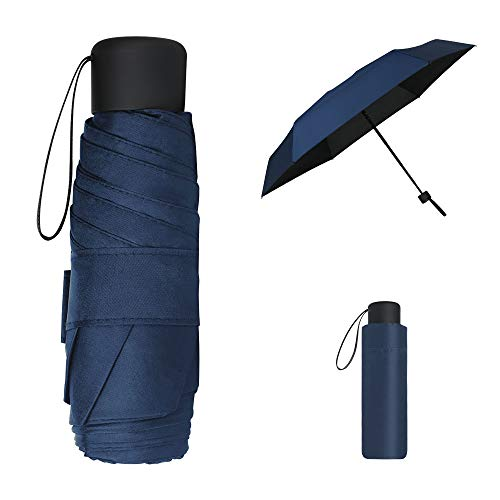 Vicloon Mini Paraguas, Paraguas de Viaje Portátil 6 Varillas con Puesto de Paraguas y 210T Negro Tela de Goma, Paraguas Plegables y Compacto, Mini Viento Paraguas 95% De Resistencia UV - Azul Oscuro