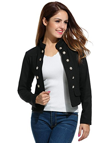 ELESOL Women Casual Work Office Open Front Button Short Cardigan Blazer Jacket