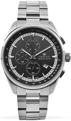 LOUIS XVI Herren-Armbanduhr Varennes Stahlband Silber Schwarz Chronograph Analog Quarz Edelstahl 915
