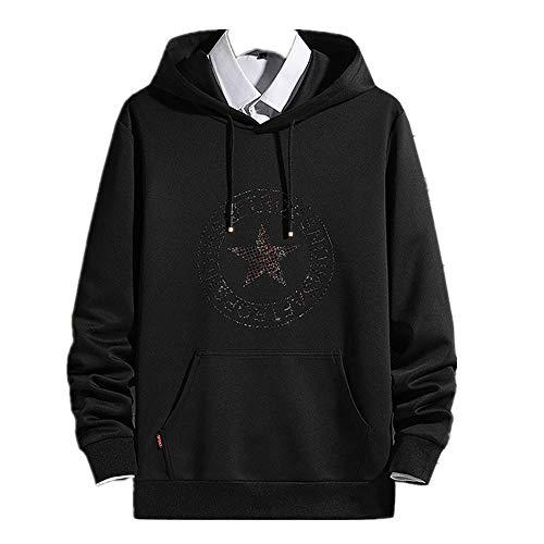 nobrand Neuer Plüsch Buchstaben Drucken Pullover mit Langen Ärmeln Jugendmode Kapuze Kragen Casual Sweater Gr. XL, Schwarz