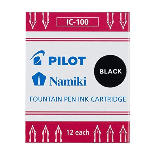 Namiki IC100 69100- Cartuchos de tinta de recambio para pluma estilográfica Negro, Pack of 12
