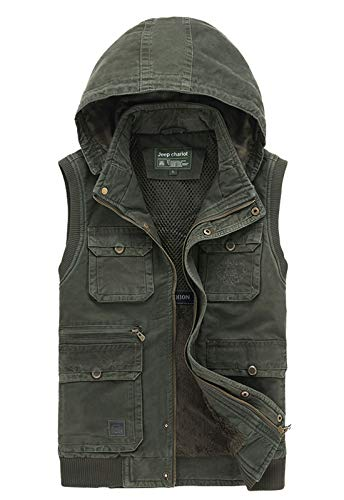 Flygo Men's Casual Outdoor Jackets Warm Sherpa Lined Thicken Fishing Hiking Vest (Army Green, Large)