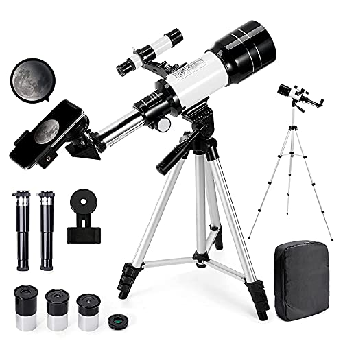 Telescopio Astronómico Zoom 150X HD 300/70 mm de Alta Ampliación Alcance de Viaje con Trípode, Portátil Equipado con Mochila y Adaptador de Teléfono Inteligente para Adultos, Niños y Principiantes ⭐