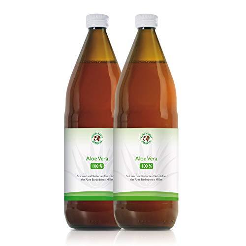 Aloe Vera Bio-Direktsaft 100% | Handfiletiert | Reich an natürlichen Inhaltsstoffen | Durchschnittlich 1200mg/l Aloverose | Braunglasflaschen | 2 x 1000ml