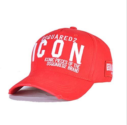 RAWQD Hip Informal Gorra de béisbol Icono Recuerdos Estudiante Cap Salvaje Sombrero de los Deportes del Casquillo del Camionero Hop Sombrero al Aire Libre Polo Bordada (Color : Red)