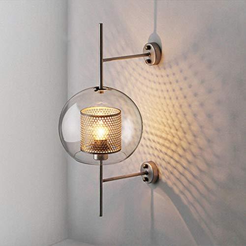 HIL wandlamp van glas, bronskleurig, industriële stijl, decoratief bedlampje Sferica wandlamp voor hal, eenvoudige creatieve persoonlijkheid