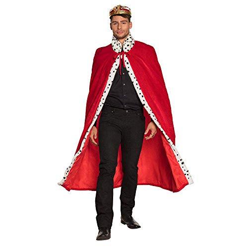 Boland 36101 - Königsmantel Deluxe, 130 cm lange Robe, rot-weiß-schwarz, gepunktetes Kunstfell, Hermelinoptik, Königshaus, Herrscher, Karneval, Halloween, Fasching, Mottoparty, Kostüm, Theater