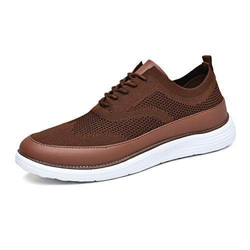 TIOSEBON Men's Dress Shoes Knit Mesh Oxford11 US Brown