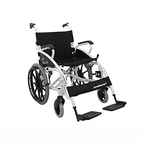 AWJ sillas de Ruedas Silla de Ruedas Apoyabrazos Plegable Rueda de aleación Ligera Portátil Neumático sólido Transporte Sillas de Ruedas para Personas Mayores Plegable Ligero
