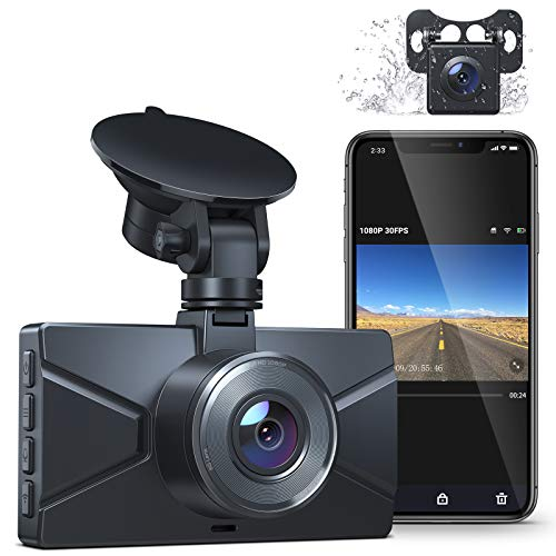 Dash Cam Front and Rear, WiFi Dash Camera for Cars Crosstour 1080P Car Cam with 3 Inch IPS Screen, 170° Wide Angle, Loop Recording, Parking Guard, G-Sensor