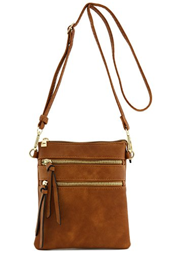 """7"""" (L) x 8"""" (H) x 0.5"""" (D) Zipper closure (Outside zippers are functional pockets) Faux Leather & Gold tone hardware Adjustable shoulder strap with 24"""" drop 1 open pocket & 1 zipper pocket inside"""