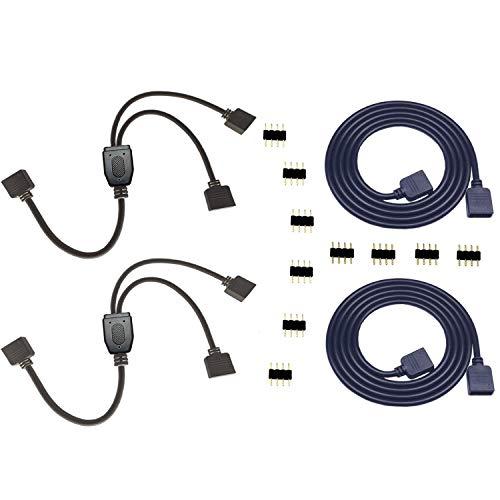 2PCS 4 Pin RGB LED Splitter Cable LED Strip Connector 2 Way Splitter Y Splitter Connection with 2PCS 4 Pin 1m 3.3ft RGB LED Strip Light Extension Cable 5050 3528 LED Strip Connector Kit (Black) 12 Pin Connection Cable