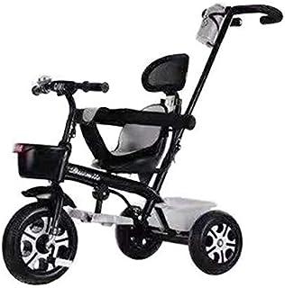 دراجة ثلاثية العجلات للاطفال مع مقبض دفع باللون الاسود