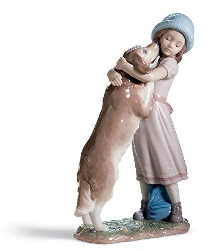 LLADRÓ A Warm Welcome Dog Figurine. Porcelain Girl Figure.