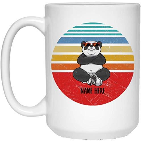 N\A Panda Divertido Gafas Divertidas Sunset Retro Nombre Personalizado Taza de café con Leche