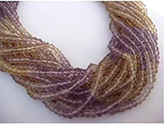 Ametrine Lot - Ametrine Micro Faceted Rondelles - 4mm - 5 Strands - 14 Inches Each