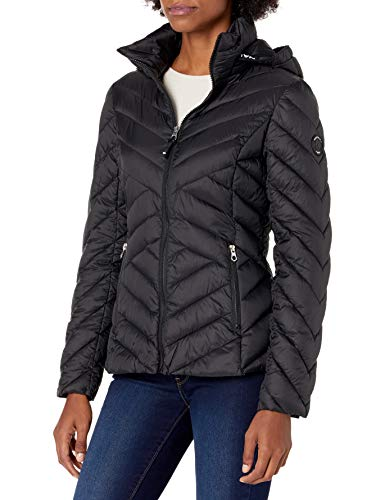 Nautica Women's Short Hooded Packable with Chevron Quilting Transitional Jacket, Black, Large