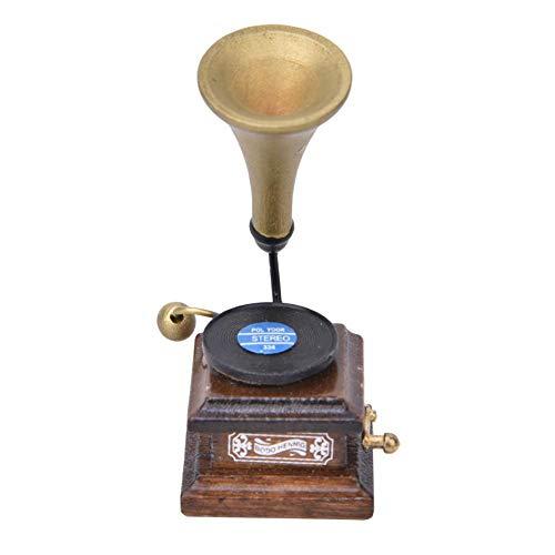 1:12 Accessori in miniatura per case delle bambole Fonografo retrò, vecchio grammofono, disco e riproduttore, antico modello di casa delle bambole Compleanno Natale Regalo per Bambini(Marrone)