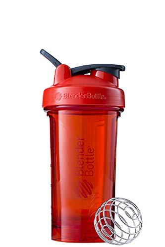 BlenderBottle Pro24 Tritan Trinkflasche mit BlenderBall, optimal geeignet als Eiweiß Shaker, Protein Shaker, Wasserflasche, BPA frei, skaliert bis 500 ml, Fassungsvermögen 710 ml, rot
