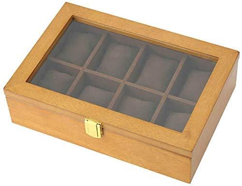 Vitrinas para Relojes Cajas para Relojes, con Cerradura y Expositor de Cristal, joyería Superior, Colecciones de Pulseras, Vitrina de Almacenamiento de Madera, para Hombres y Mujeres