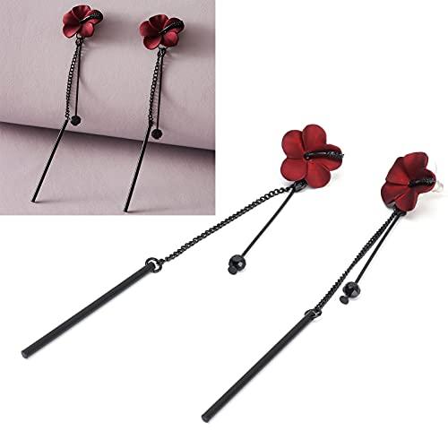 Pendientes colgantes con bisagras, Pendientes colgantes negros estilo flor para diferentes atuendos para diversas situaciones