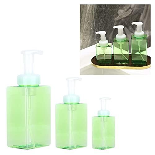 Botella de viaje, dispensador de bomba de espuma Antifugas Fácil de limpiar 3PCS 250ml + 400ml + 500ml Plástico para cosméticos para limpieza para viajes