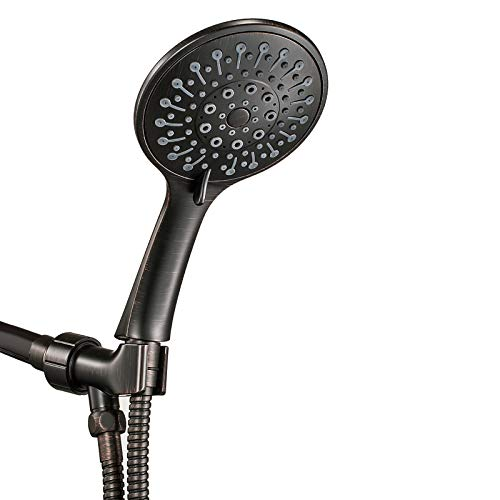 """ANZA Shower Head With Handheld and 6 Spray Settings, 5"""" Detachable Hand held Showerhead, with Long Hose and Adjustable Brass Bracket (Oil Rubbed Bronze)"""