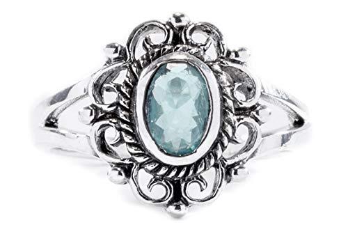 WINDALF Mittelalter Ring CISCANDRA h: 1.3 cm Blume mit hellblauem Stein 925 Sterlingsilber (Silber, 64 (20.4))