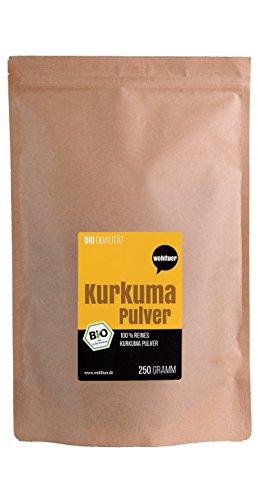 Wohltuer Bio Kurkuma Pulver | Kurkumawurzel gemahlen (250g) Vorratspackung | Bio- & Rohkostqualität