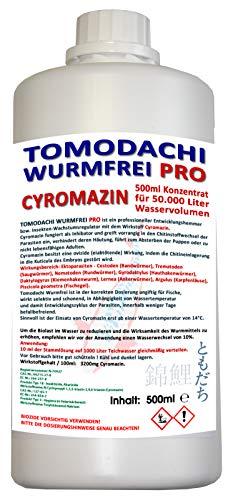 Tomodachi Wurmfrei Wurmmittel Koiteich, antiwurm - wurmfrei, karpfenlausfrei mit Cyromazin - gegen Würmer Karpfenläuse, Fischegel im Koiteich 500ml Cyromazin Konzentrat für 50.000L Teichwasser