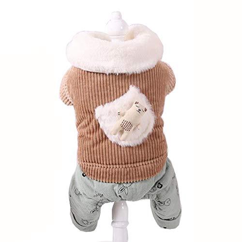 GBY Huisdierkleding voor katten en honden, wintermantels met capuchon voor de decoratie van konijnen, wintermantels met dikke, gevoerde jas, warme mantels met vier poten voor huisdieren, geschikt, Large, bruin