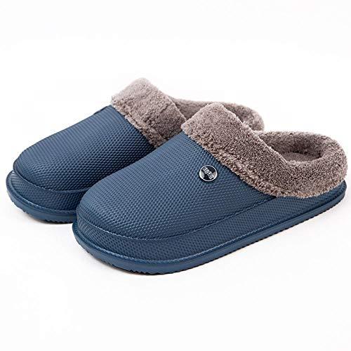 B/H Zapatos Antideslizantes de Interior para Hombres,Pantofole invernali in Cotone impermeabile EVA, puntale antiscivolo Scarpe calde-BLU Navy_39-40,Memory Foam - Zapatilla de casa para Exteriores