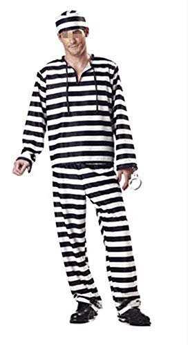 NewDong Adult Striped Prisoner Costume Black White Long Sleeved Uniform Cosplay for Mens (X-Large, Style1)